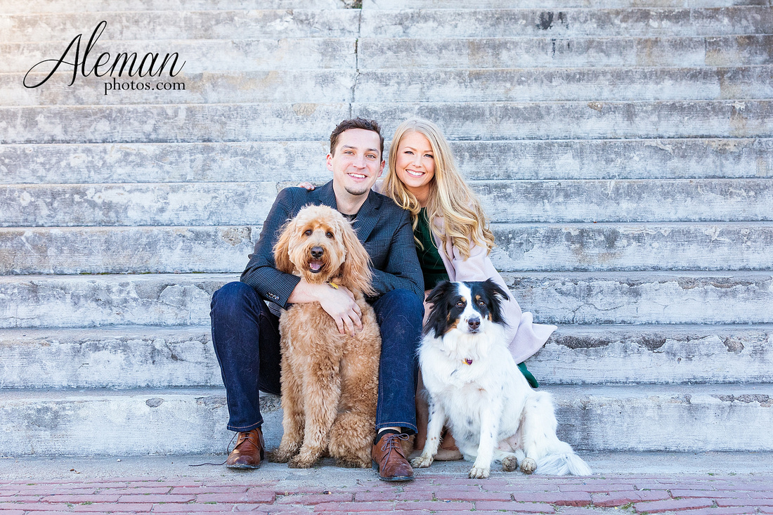 fort-worth-stockyards-engagement-dogs-rustic-winter-green-dress-formal-goldendoodle-aleman-photos-008