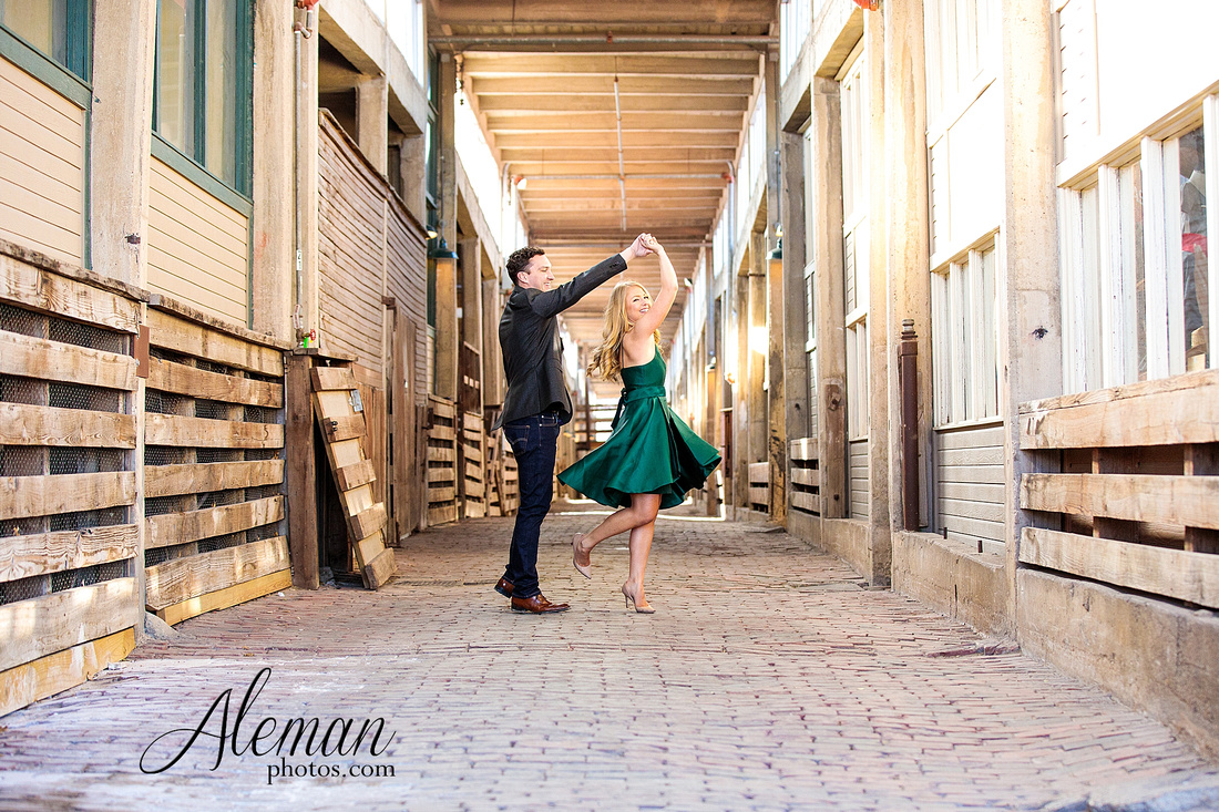 fort-worth-stockyards-engagement-dogs-rustic-winter-green-dress-formal-goldendoodle-aleman-photos-012